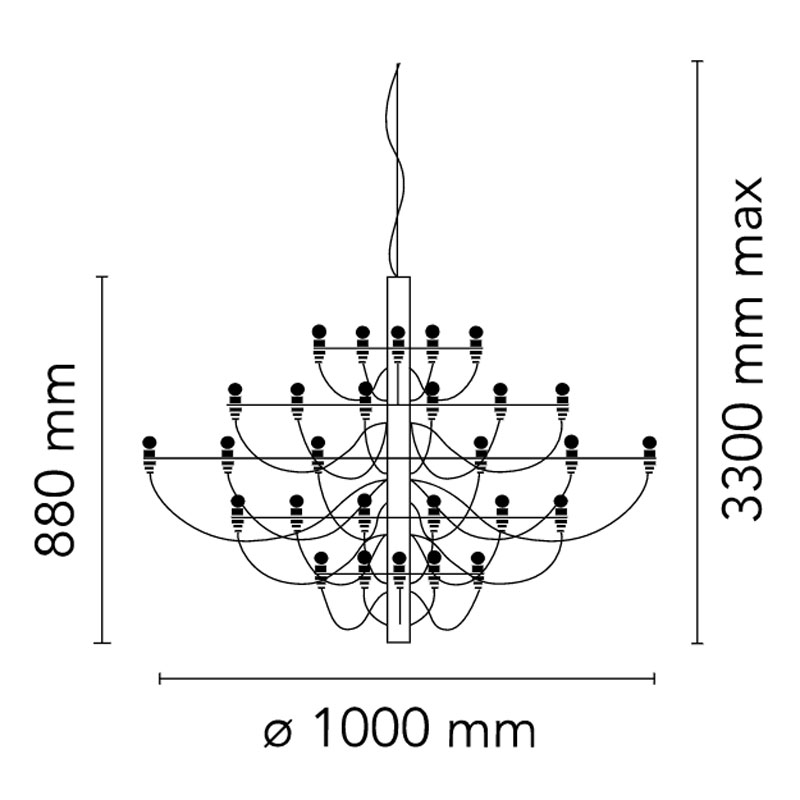 Flos 2097 50 Pendent Light Line Drawing