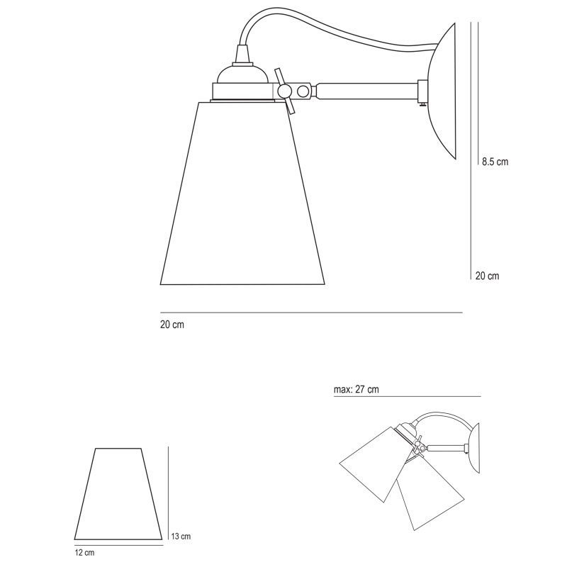 Original Btc Hector Medium Pleat Wall Light Line Drawing