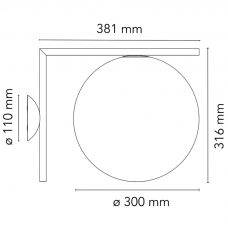 Flos Ic Light Cw2 Wall Light Line Drawing