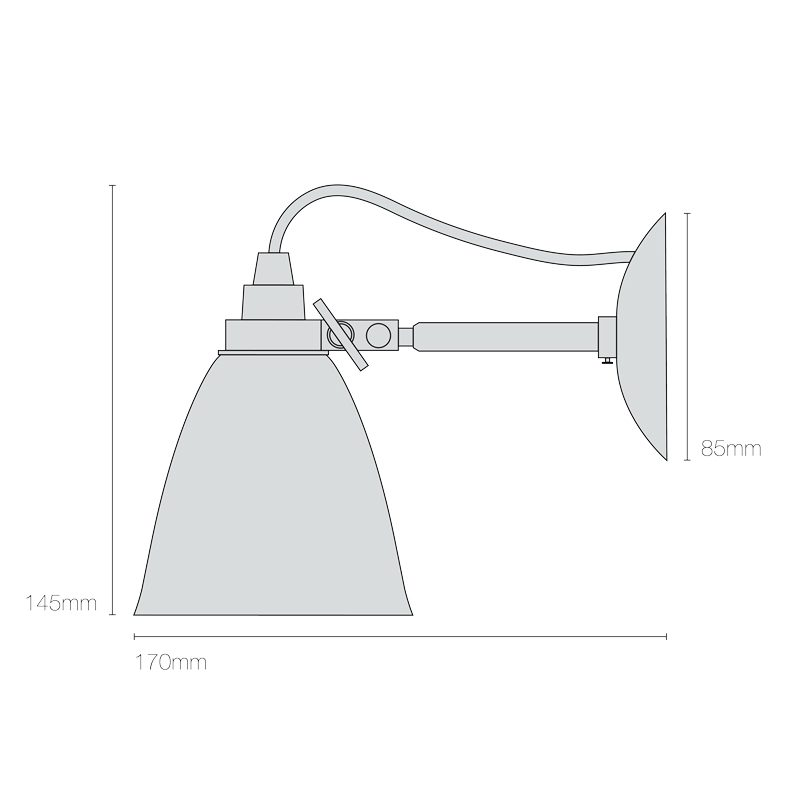 Original Btc Hector Small Dome Wall Light Line Drawing