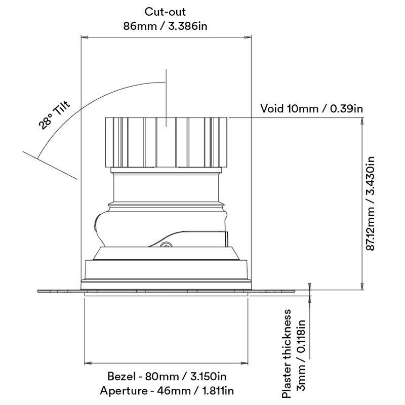 Orluna Fade Adjustable Downlight Line Drawing