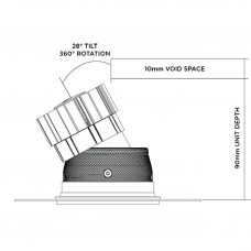 Fade Tilt & Rotate Trimless Downlight Line Drawing