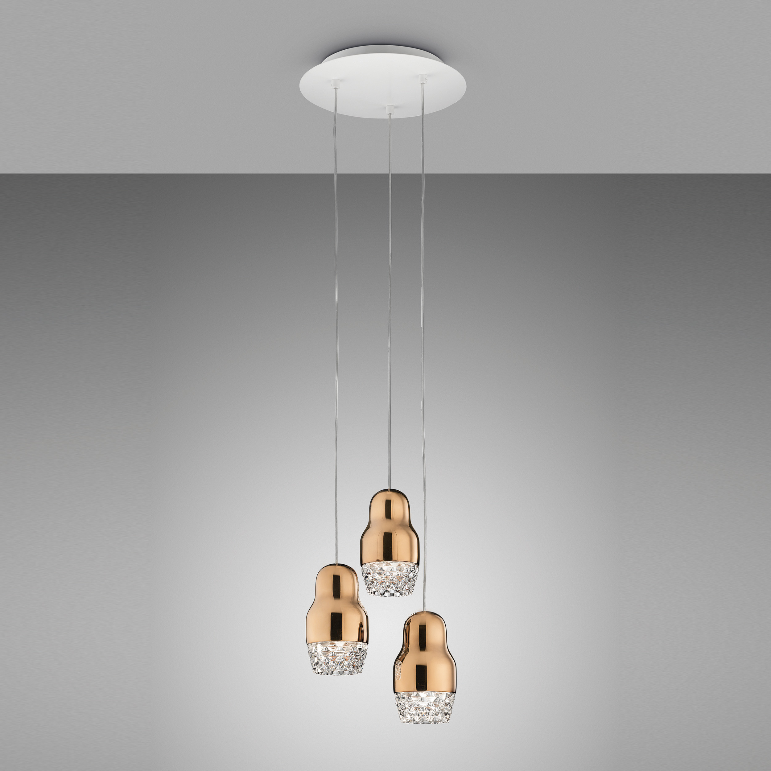 Axolight Fedora 3 Pendant Light Rose Gold D