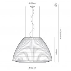 Axolight Bell 180 Led Pendant Light Line Drawing