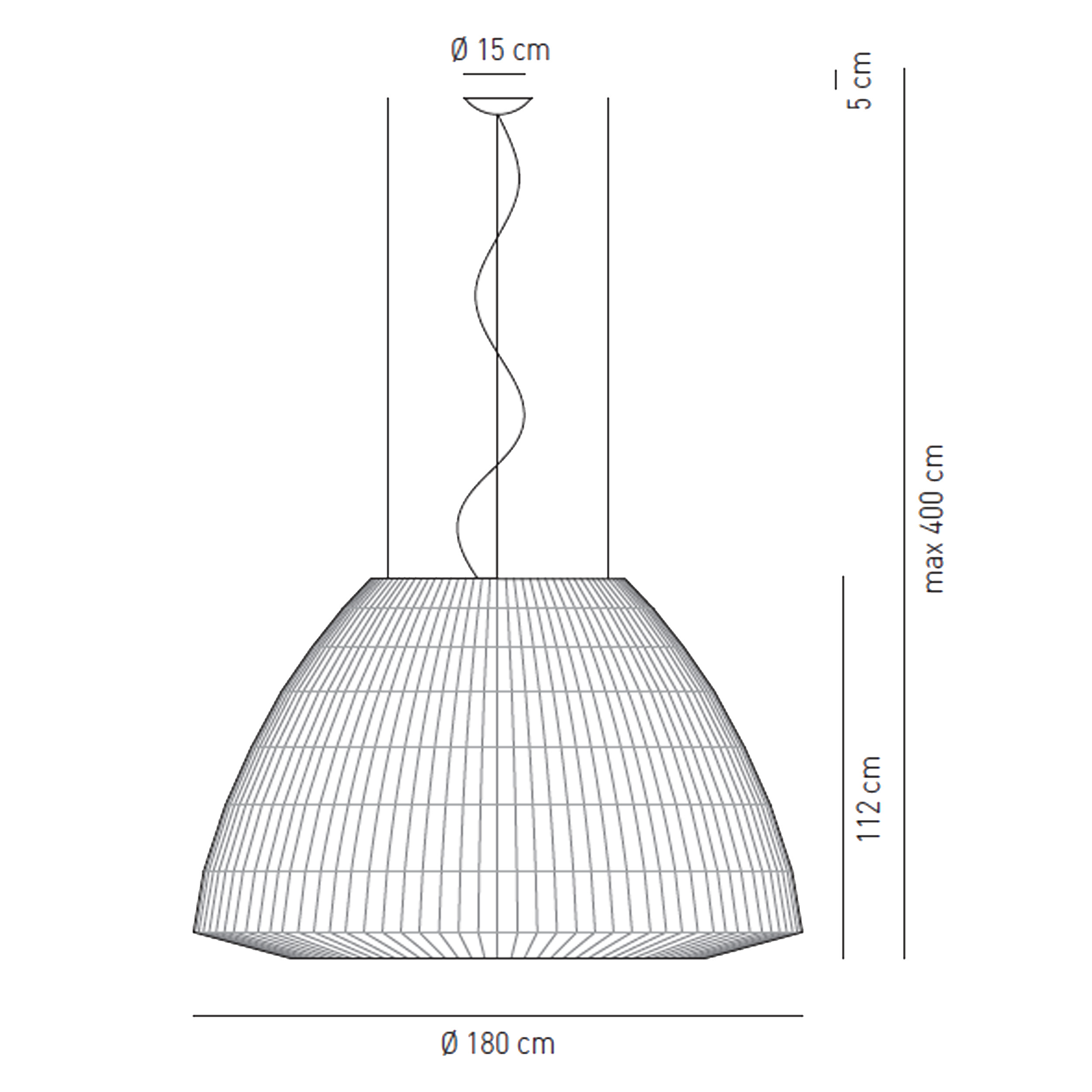 Axolight Bell 180 Pendant Light Line Drawing