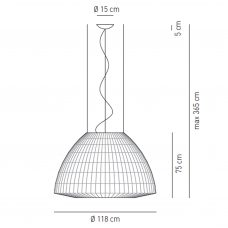 Axolight Bell 118 Pendant Light Line Drawing