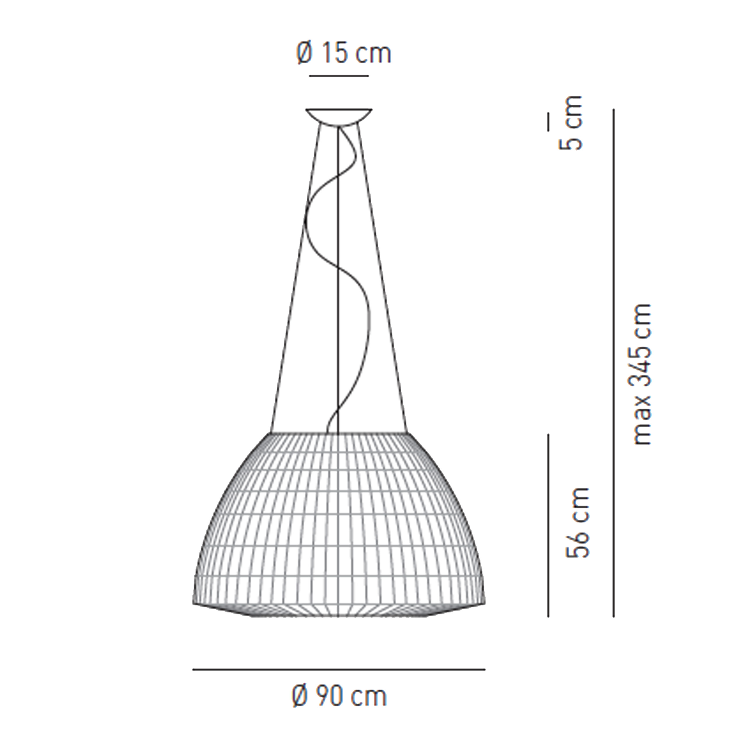 Axolight Bell 90 Led Pendant Light Line Drawing