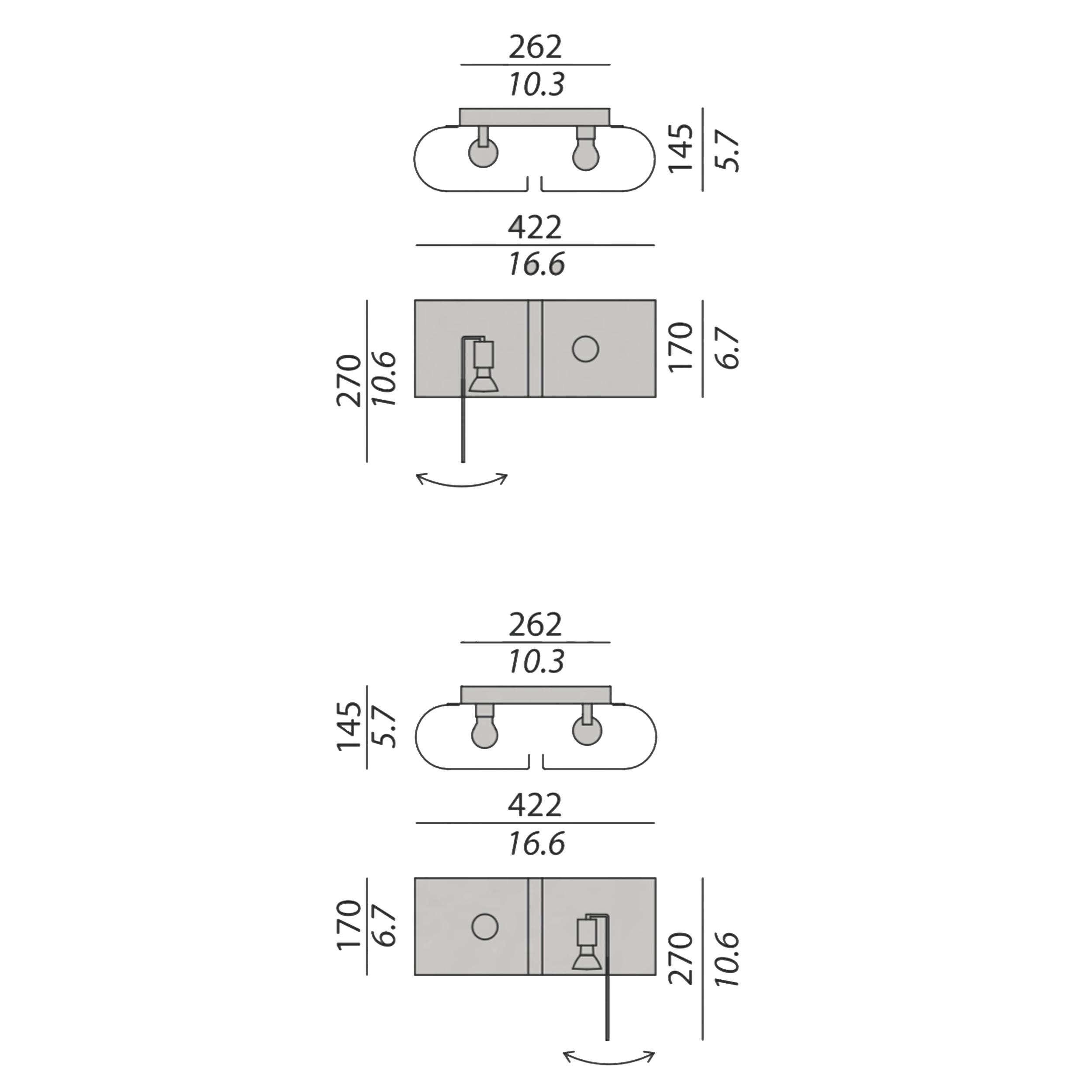 Contardi Duos Ap Wall Light Line Drawing