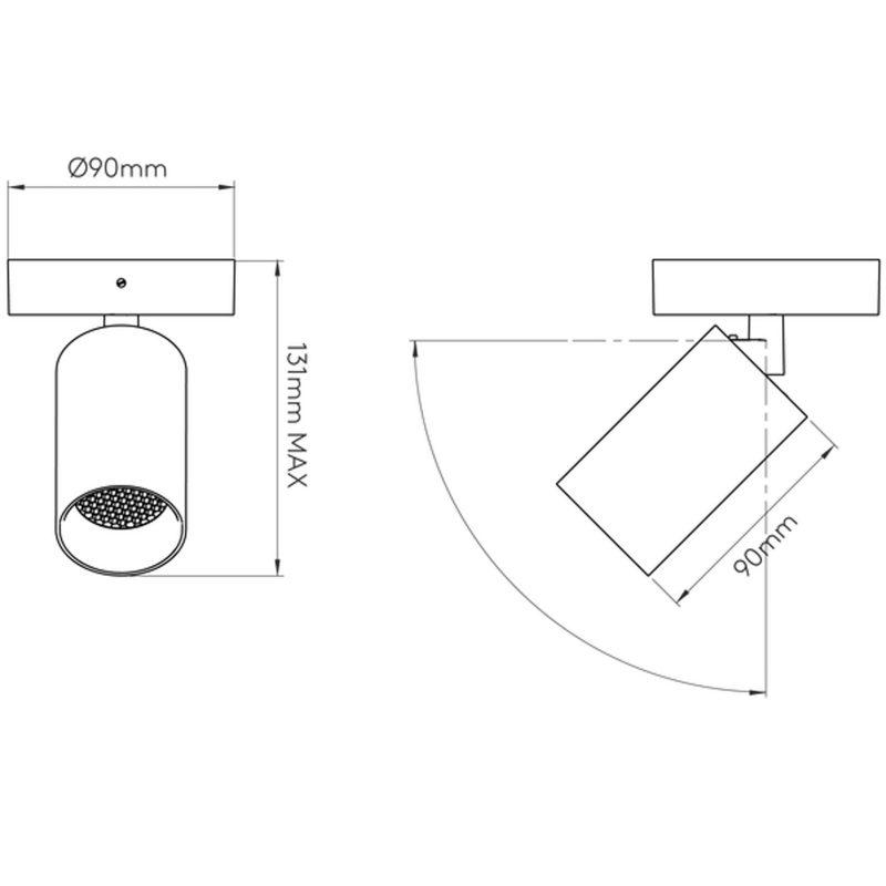 Astro Can 50 Single Spotlight Line Drawing