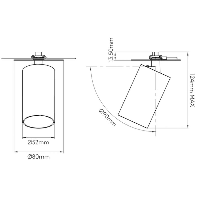 Astro Can 50 Recessed Spotlight Line Drawing