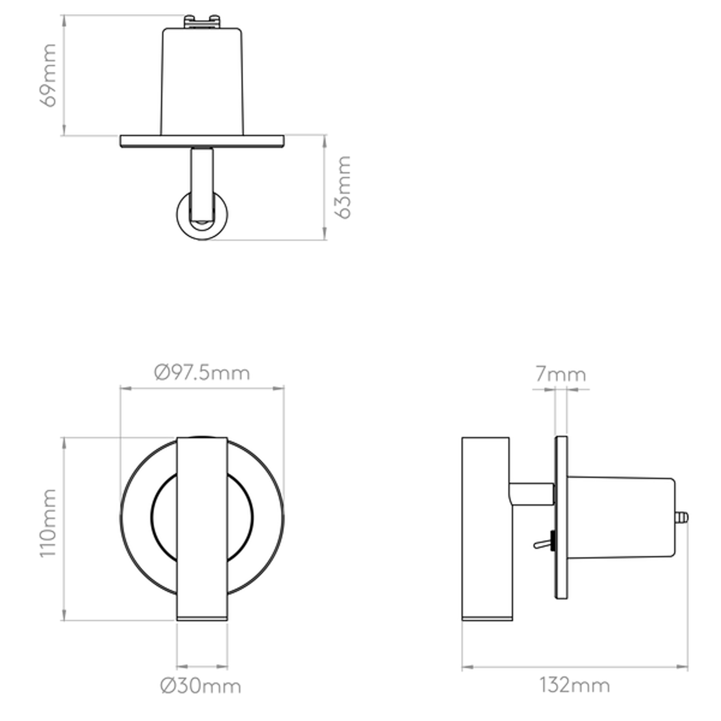 Astro Enna Recess Switched Led Wall Light Line Drawing