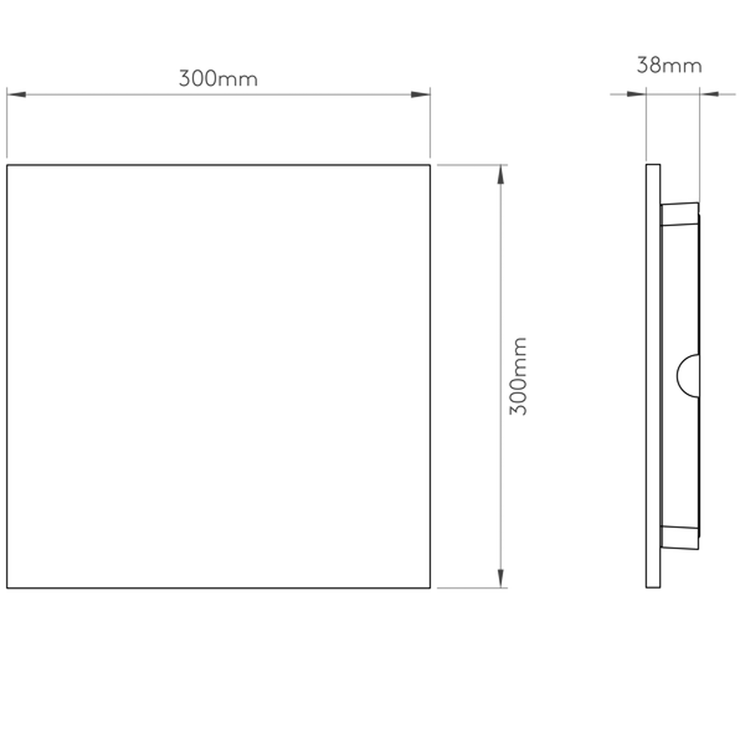 Astro Eclipse Square 300 Wall Light Line Drawing