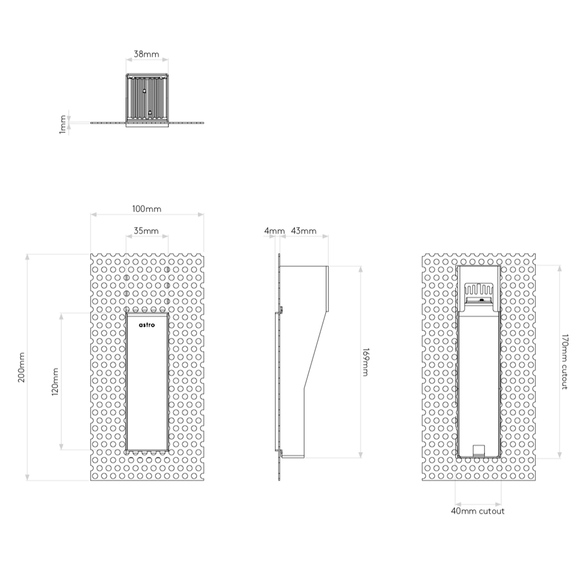 Astro Borgo Trimless 35 Wall Light Line Drawing