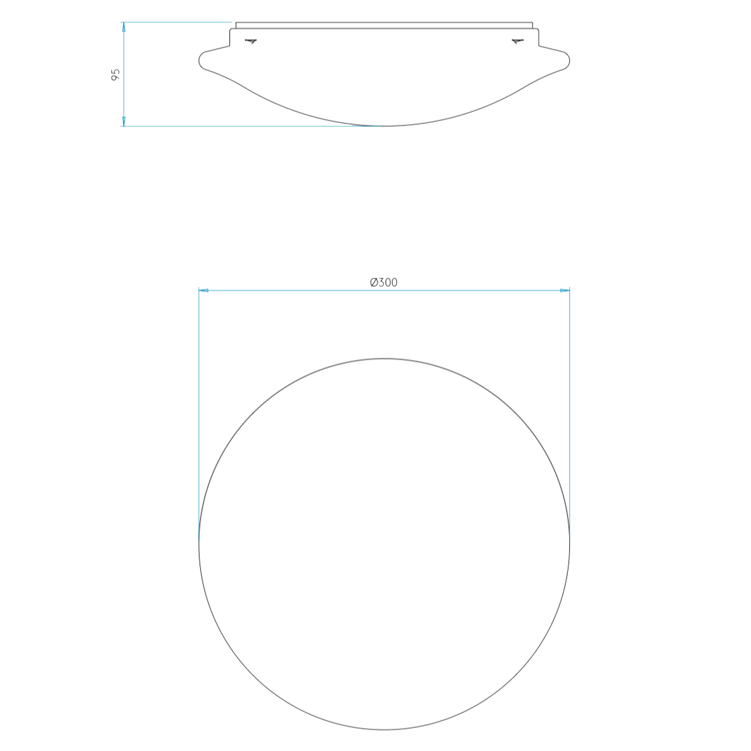 Astro Massa 300 Led Ceiling Light Line Drawing