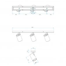 Astro Aqua Triple Bar Spotlight Line Drawing