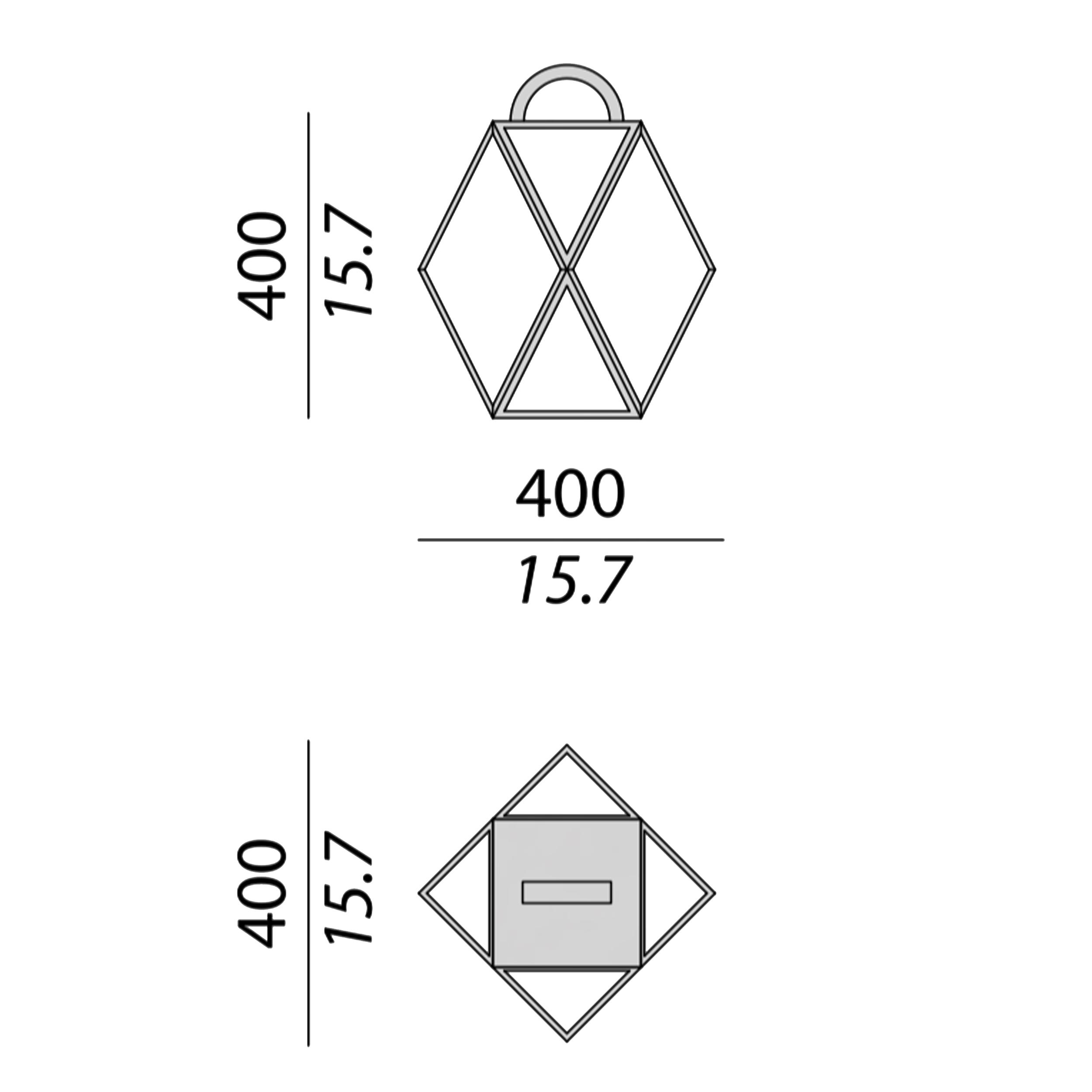 Contardi Muse Lantern Outdoor Table Lamp Line Drawing