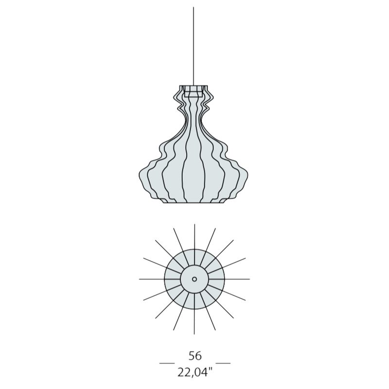 Evi Style Bia Corinto Large Pendant Light Line Drawing