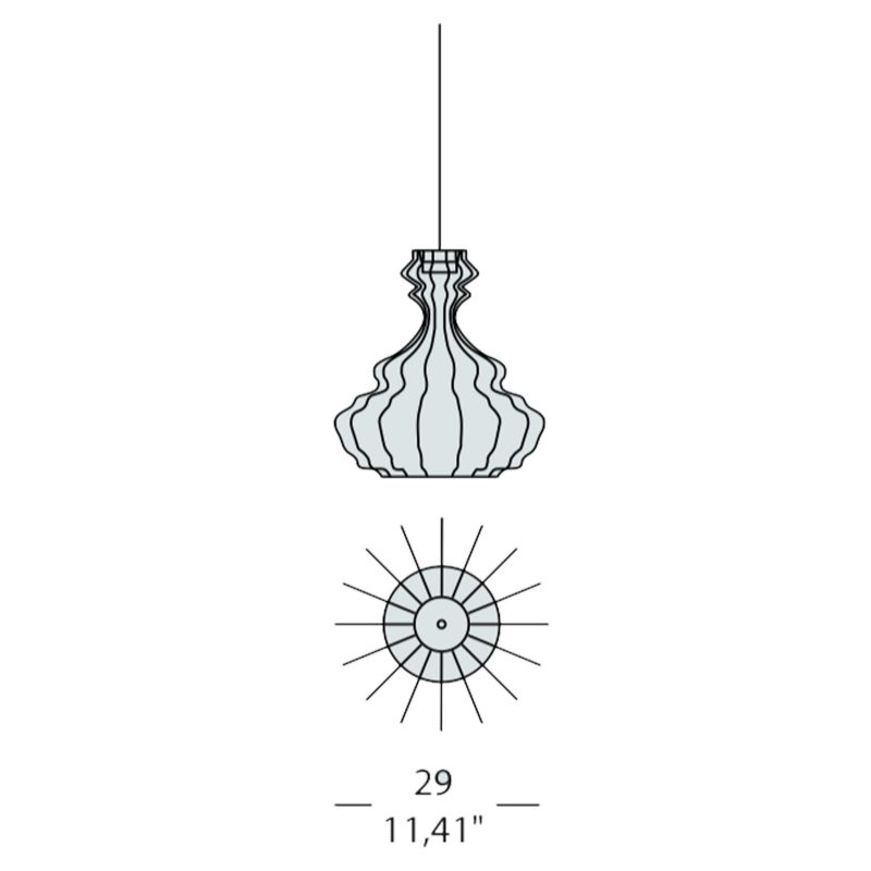 Evi Style Bia Corinto Small Pendant Light Line Drawing