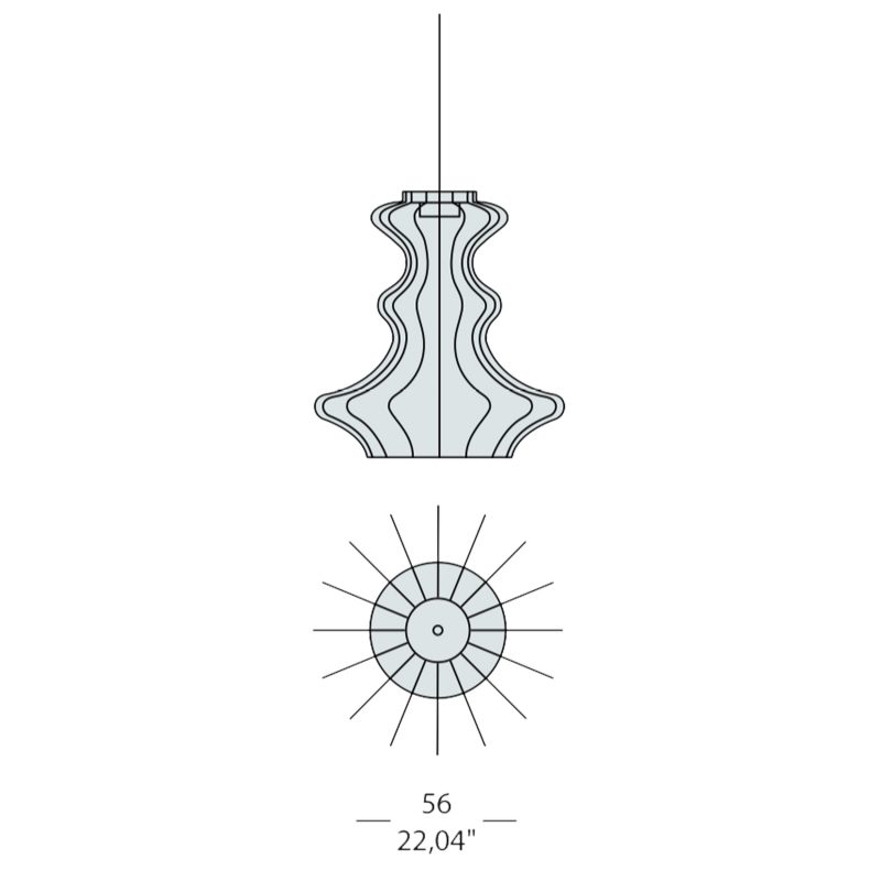 Evi Style Bia Atene Large Pendant Light Line Drawing