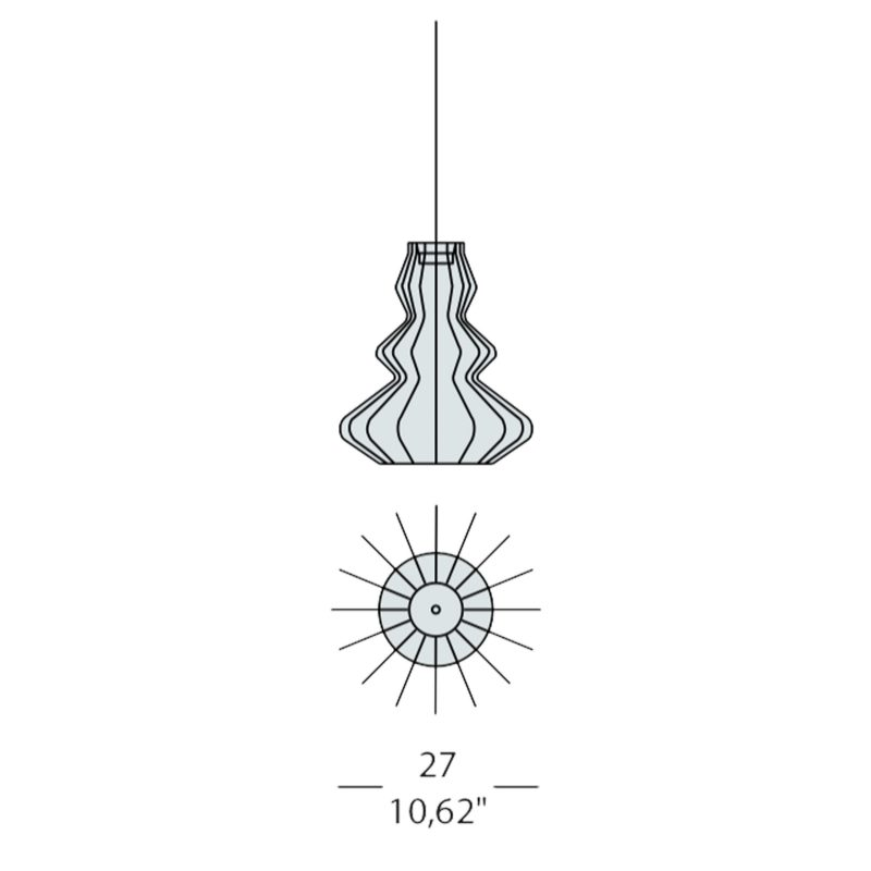 Evi Style Bia Argo Small Pendant Light Line Drawing