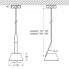 Occhio Lei Sospeso Up Pendant Light Line Drawing