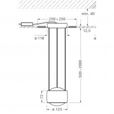 Occhio Sento Sospeso Trimless Pendant Light Line Drawing