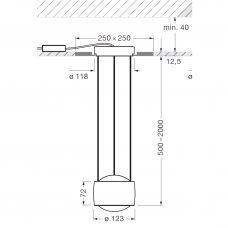 Occhio Sento Sospeso Trimless Pendant Light Line Drawing