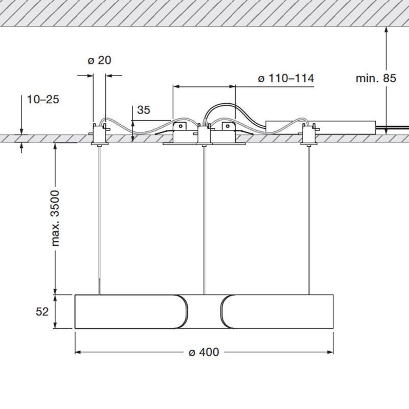 Mito Sospeso 40 Flat Down Pendant Light Line Drawing