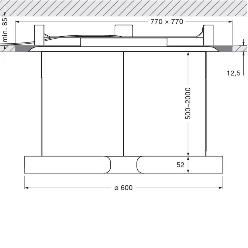 Mito Sospeso 60 Trimless Down Pendant Light Line Drawing