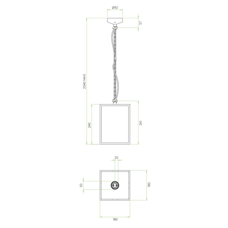 Astro Homefield 240 Pendant Light Line Drawing
