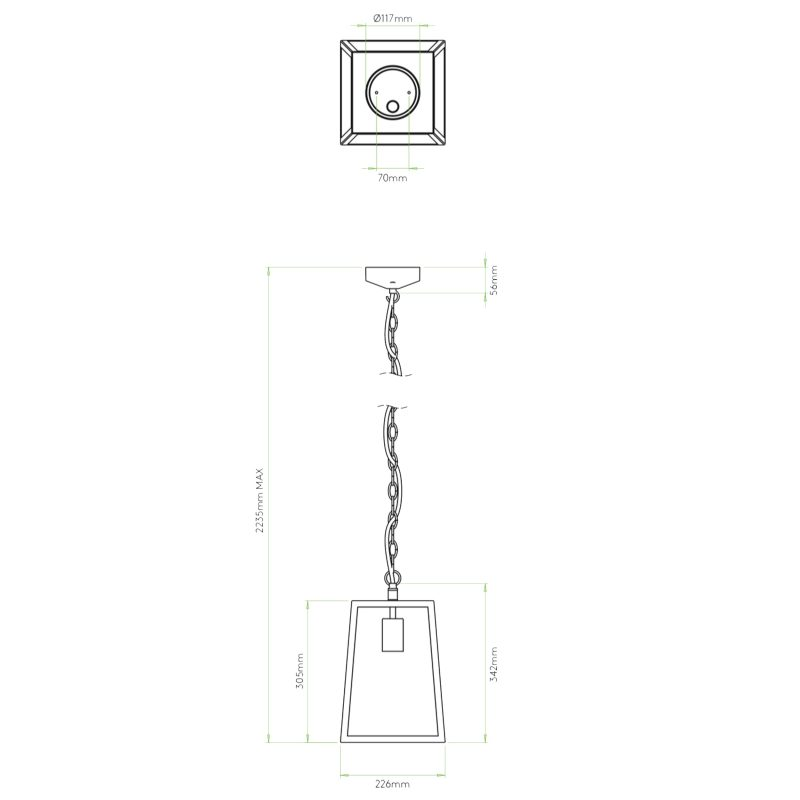 Astro Calvi 305 Pendant Light Line Drawing