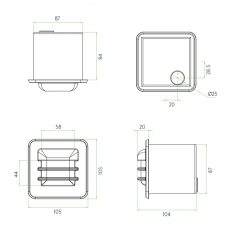 Astro Arran Square Led Wall Light Line Drawing