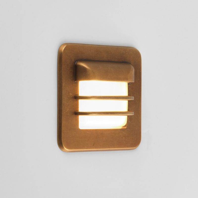 Astro Arran Square Led Wall Light Antique Brass