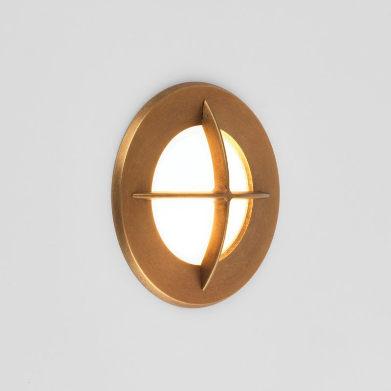 Astro Arran Round Led Wall Light Antique Brass