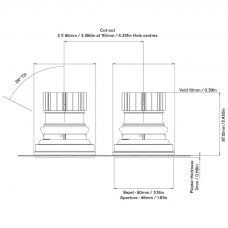 Orluna Fade Twin Downlight Line Drawing