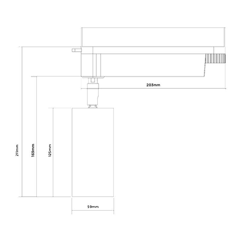 Orluna Air Adjustable Track Spotlight Line Drawing