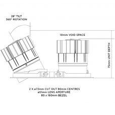 Orluna Detail Mini Square Twin Tilt Rotate Downlight Line Drawing