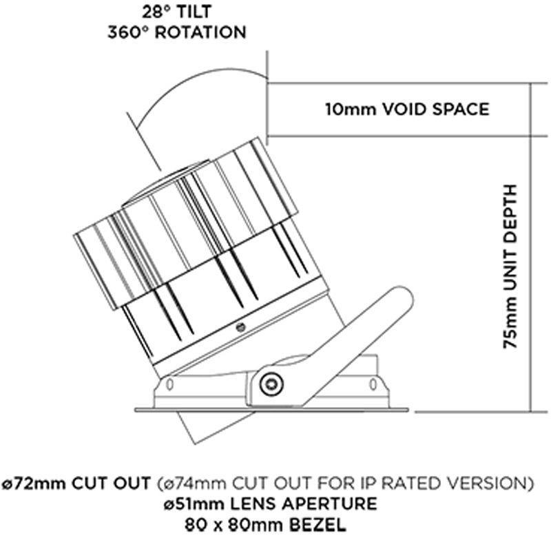 Orluna Detail Mini Square Tilt Rotate Downlight Line Drawing