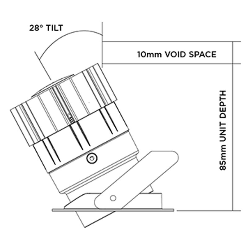 Orluna Mini Recessed Tilt Downlight Line Drawing