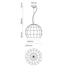 Marset Scotch Club 41 Pendant Light Line Drawing