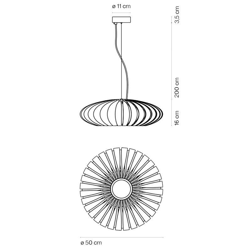 Marset Maranga 50 Pendant Light Line Drawing