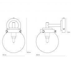 Original Btc Mini Globe Wall Light Line Drawing