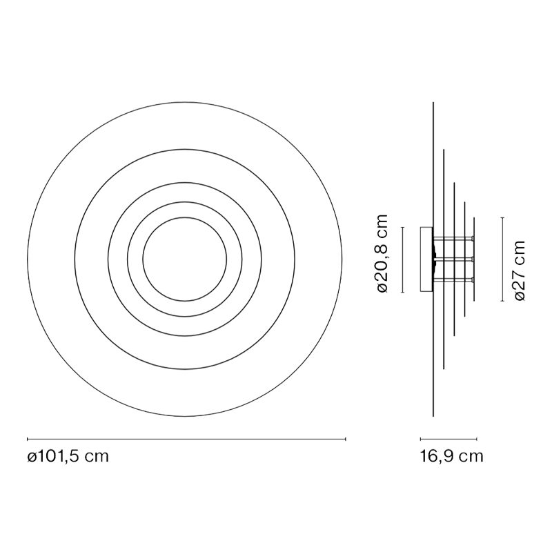 Marset Concentric L Wall Light Line Drawing