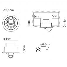 Marset Ledcompass R Wall Light Line Drawing