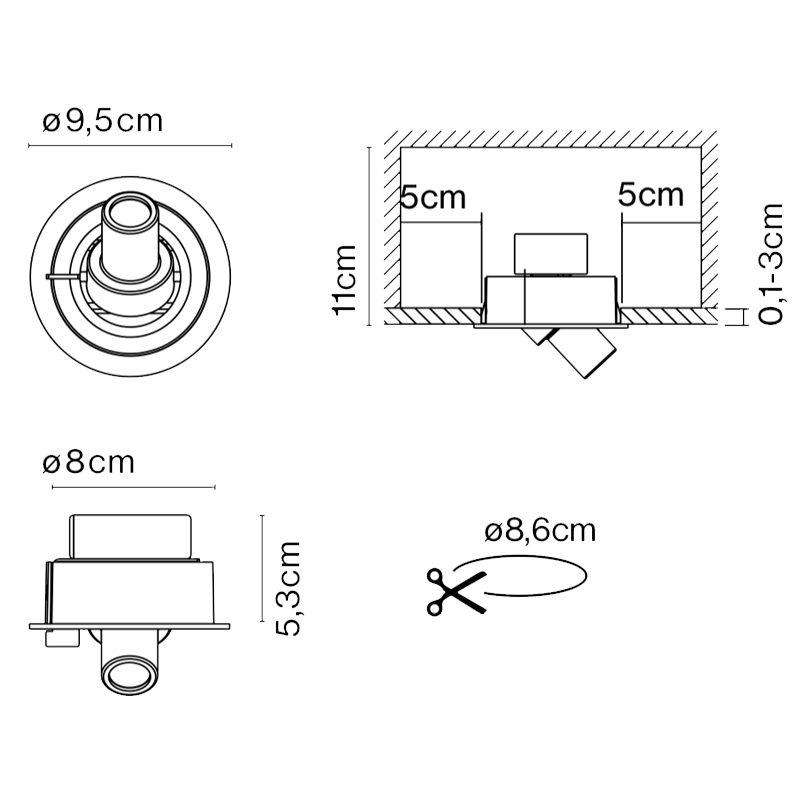 Marset Ledcompass R Wall Light Line Drawing