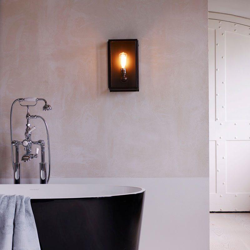 Davey Lighting Box Medium External Glass Wall Light Weathered Brass Clear Glass B
