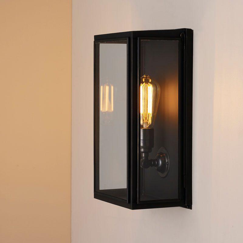 Davey Lighting Box Medium External Glass Wall Light Weathered Brass Clear Glass C