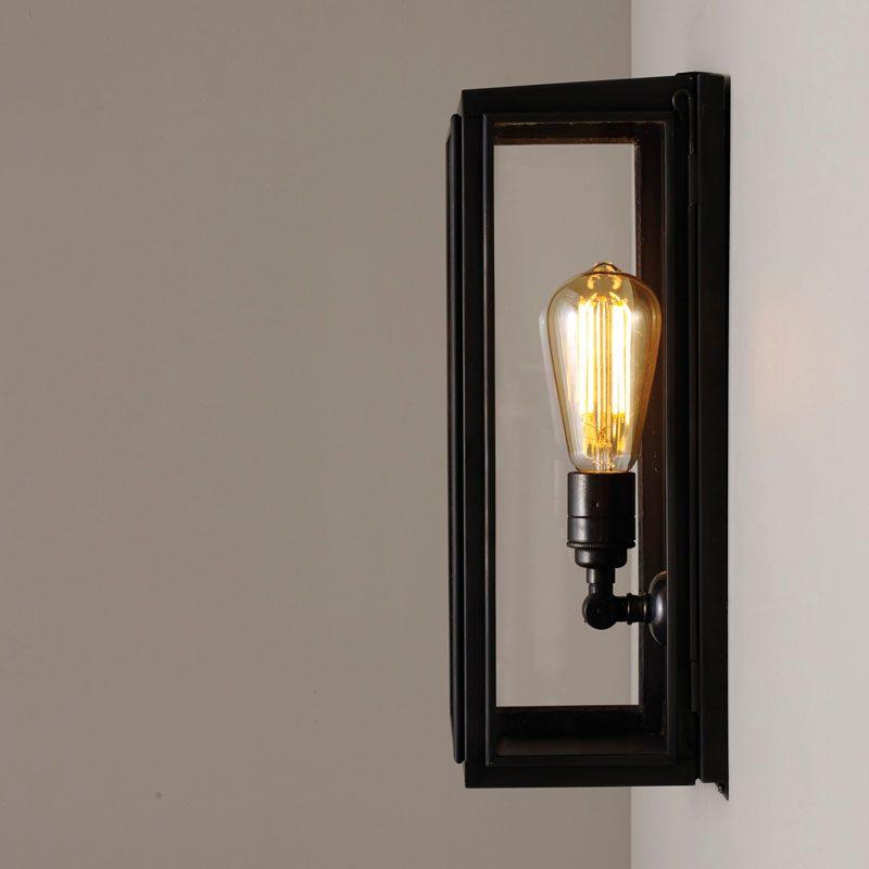 Davey Lighting Box Medium External Glass Wall Light Weathered Brass Clear Glass E