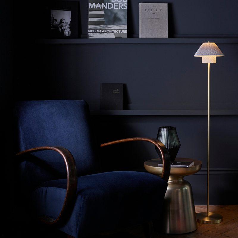 Original Btc Oxford Floor Lamp Natural Satin Brass C