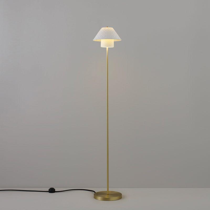 Original Btc Oxford Floor Lamp Natural Satin Brass